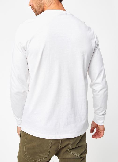 Vêtements Polo Ralph Lauren Tee-Shirt ML Pony Blanc vue portées chaussures