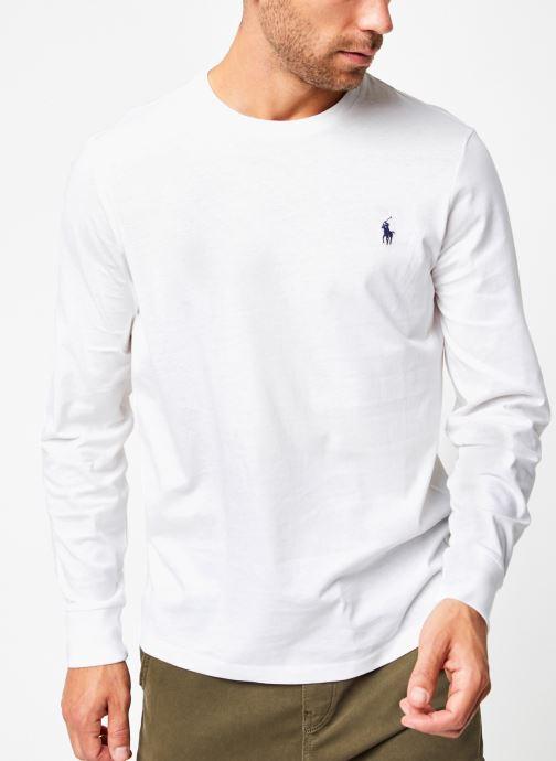 Vêtements Polo Ralph Lauren Tee-Shirt ML Pony Blanc vue droite