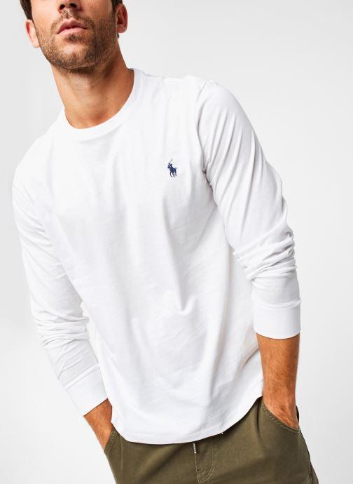 Vêtements Polo Ralph Lauren Tee-Shirt ML Pony Blanc vue détail/paire