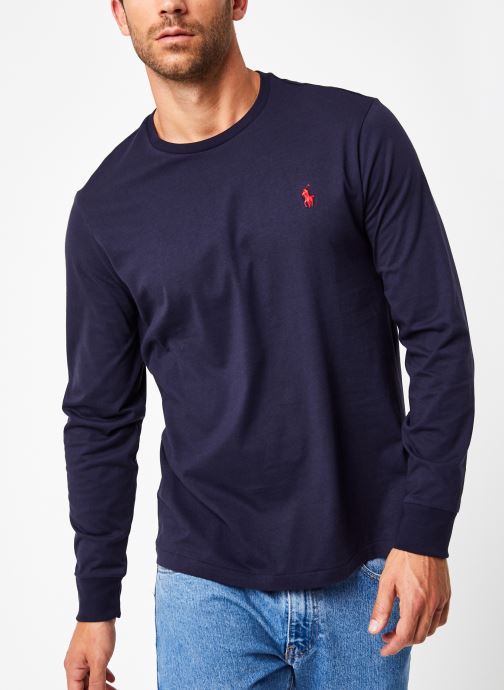 Vêtements Polo Ralph Lauren Tee-Shirt ML Pony Bleu vue droite
