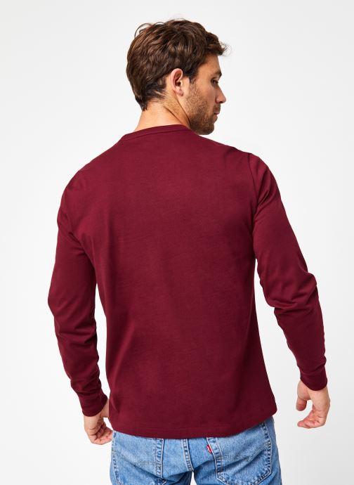 Vêtements Polo Ralph Lauren Tee-Shirt ML Pony Bordeaux vue portées chaussures