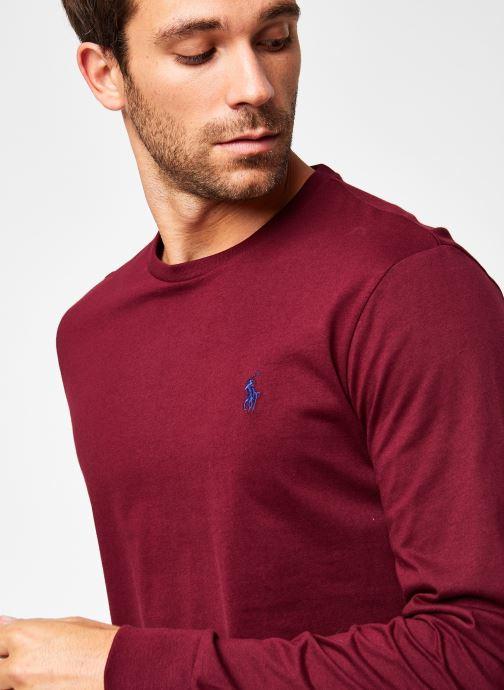 Vêtements Polo Ralph Lauren Tee-Shirt ML Pony Bordeaux vue face
