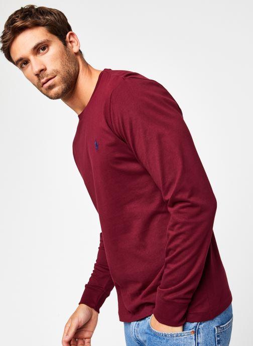 Vêtements Polo Ralph Lauren Tee-Shirt ML Pony Bordeaux vue droite