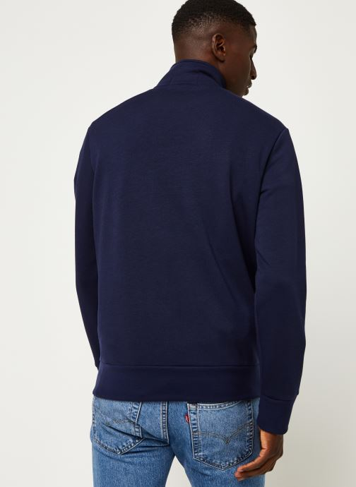 Vêtements Polo Ralph Lauren Sweatshirt ML Zip Pony Bleu vue portées chaussures