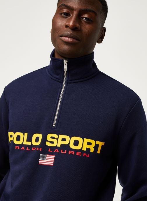 Vêtements Polo Ralph Lauren Sweatshirt ML Zip Pony Bleu vue face