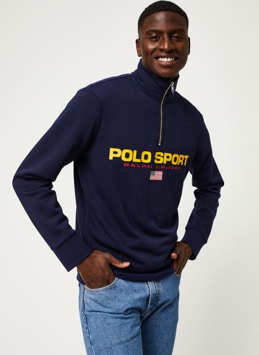 Vêtements Polo Ralph Lauren Sweatshirt ML Zip Pony Bleu vue droite