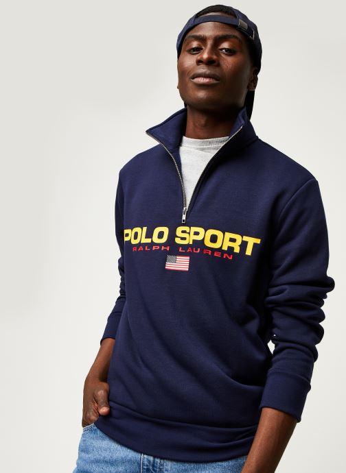 Vêtements Polo Ralph Lauren Sweatshirt ML Zip Pony Bleu vue détail/paire