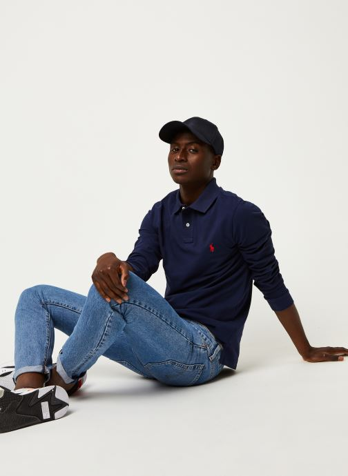 Vêtements Polo Ralph Lauren Pull ML Slim Pony Bleu vue bas / vue portée sac