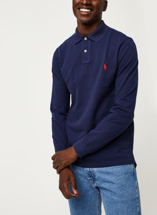 Vêtements Polo Ralph Lauren Pull ML Slim Pony Bleu vue droite