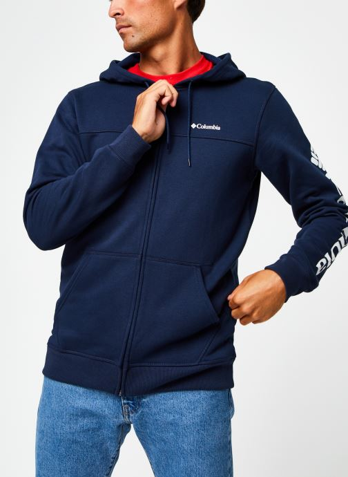 Vêtements Columbia M Columbia Logo Fleece Full Zip Bleu vue droite