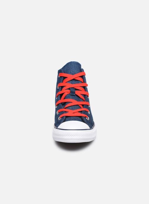 Baskets Converse Chuck Taylor All Star Reverse Twill Hi Bleu vue portées chaussures
