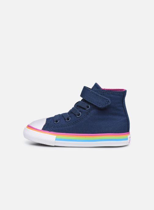 Sneaker Converse Chuck Taylor All Star 1V Canvas Multi-Stripe Hi blau ansicht von vorne