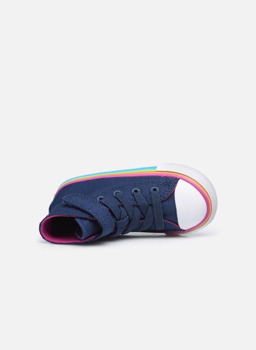Sneaker Converse Chuck Taylor All Star 1V Canvas Multi-Stripe Hi blau ansicht von links