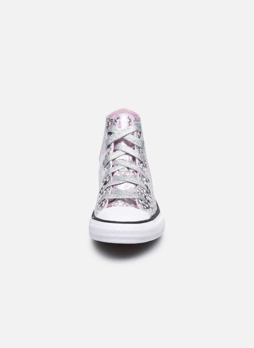 Sneaker Converse Chuck Taylor All Star She's a Star Hi silber schuhe getragen