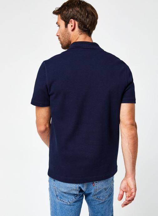 Vêtements Lacoste Polo Contrasté MC Croco Bleu vue portées chaussures