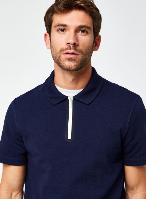 Vêtements Lacoste Polo Contrasté MC Croco Bleu vue face