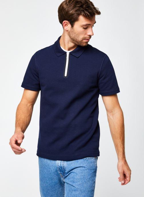 Vêtements Lacoste Polo Contrasté MC Croco Bleu vue droite