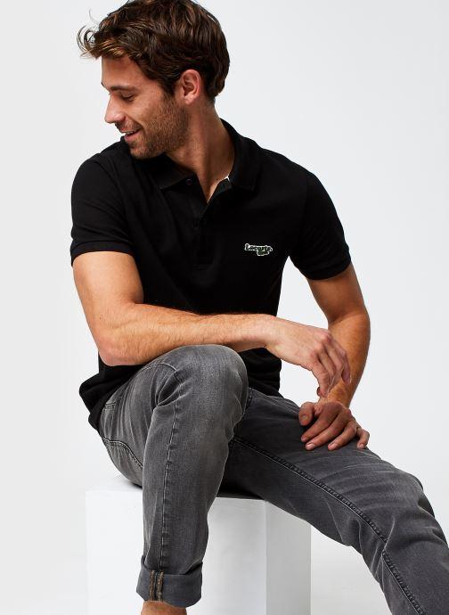 Vêtements Lacoste Polo Bord Contrasté MC Croco Noir vue détail/paire
