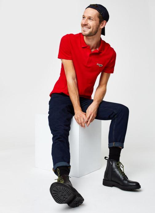 Vêtements Lacoste Polo Bord Contrasté MC Croco Rouge vue bas / vue portée sac