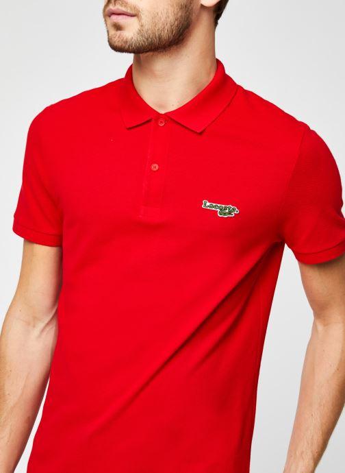 Vêtements Lacoste Polo Bord Contrasté MC Croco Rouge vue face