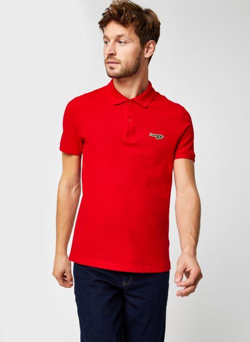 Vêtements Lacoste Polo Bord Contrasté MC Croco Rouge vue droite