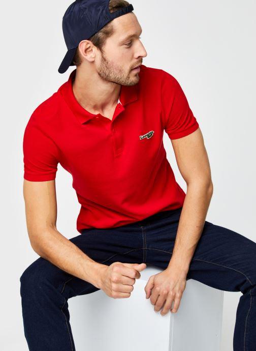 Vêtements Lacoste Polo Bord Contrasté MC Croco Rouge vue détail/paire