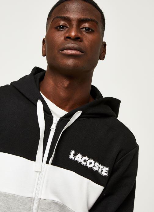 Vêtements Lacoste Sweatshirt Hoodie Zip ML Croco Noir vue face