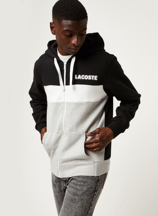 Vêtements Lacoste Sweatshirt Hoodie Zip ML Croco Noir vue droite