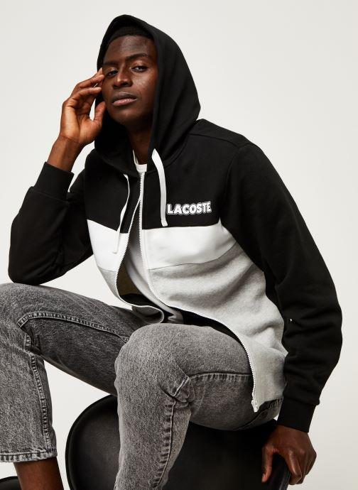 Vêtements Lacoste Sweatshirt Hoodie Zip ML Croco Noir vue détail/paire