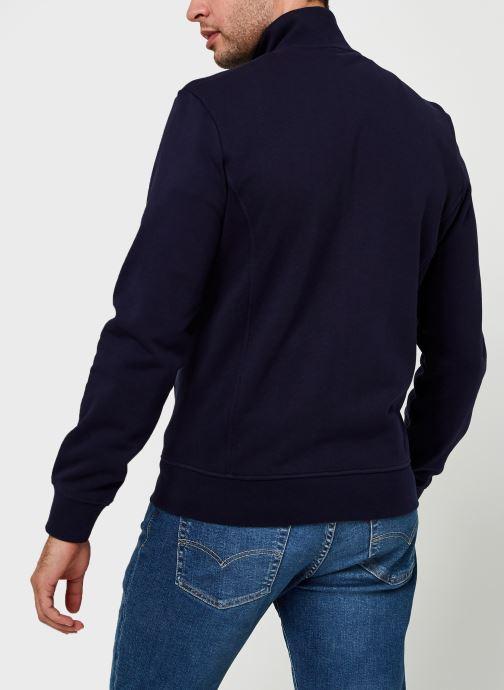 Vêtements Lacoste Sweatshirt Full Zip ML Croco Bleu vue portées chaussures