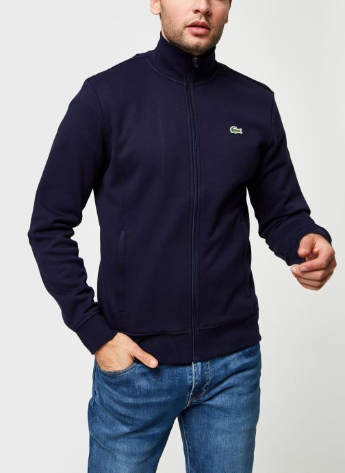 Vêtements Lacoste Sweatshirt Full Zip ML Croco Bleu vue droite