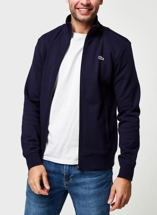 Vêtements Lacoste Sweatshirt Full Zip ML Croco Bleu vue détail/paire