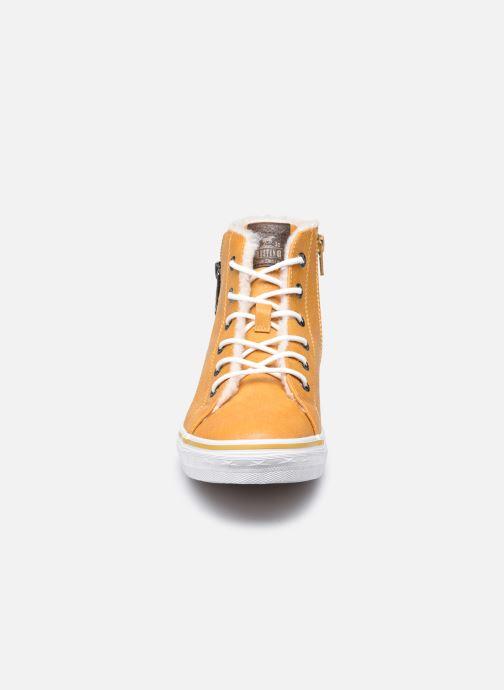 Sneaker Mustang shoes 5056604 gelb schuhe getragen