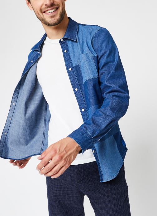 Vêtements Accessoires Ams Blauw Denim Shirt With Patchwork Detailing