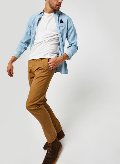 Vêtements Scotch & Soda Ams Blauw 1 Pocket Organic Denim Shirt With Patterned Pochet Bleu vue bas / vue portée sac