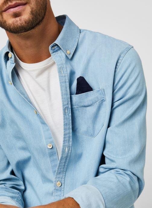 Vêtements Scotch & Soda Ams Blauw 1 Pocket Organic Denim Shirt With Patterned Pochet Bleu vue face
