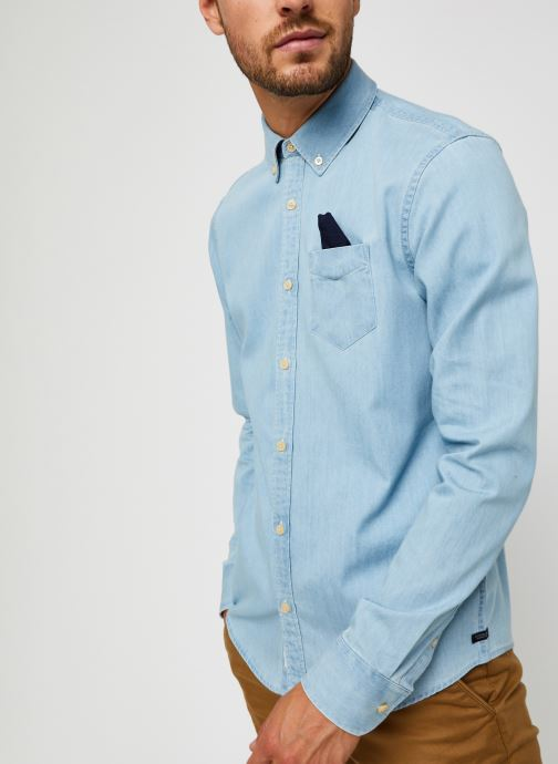 Vêtements Scotch & Soda Ams Blauw 1 Pocket Organic Denim Shirt With Patterned Pochet Bleu vue droite
