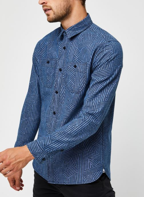 Vêtements Scotch & Soda Ams Blauw Organic Cotton Chambray Work Wear Shirt Bleu vue droite