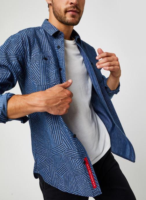 Vêtements Accessoires Ams Blauw Organic Cotton Chambray Work Wear Shirt