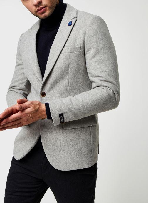 Vêtements Scotch & Soda Classic Single-Breasted Neps Wool-Blend Blazer Gris vue droite