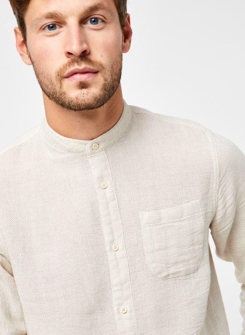 Vêtements Scotch & Soda Regular Fit - Collarless Structured Shirt Beige vue face