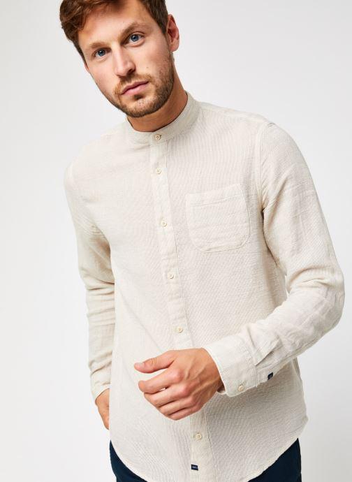 Vêtements Scotch & Soda Regular Fit - Collarless Structured Shirt Beige vue droite