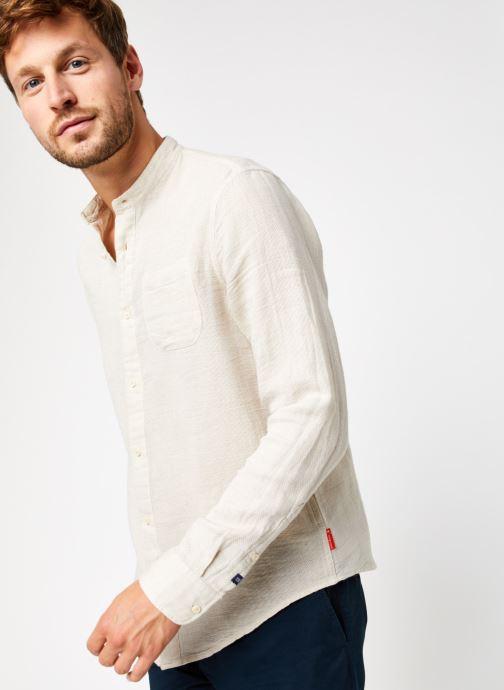 Vêtements Scotch & Soda Regular Fit - Collarless Structured Shirt Beige vue détail/paire