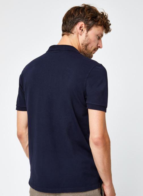 Vêtements Scotch & Soda Garment-Dyed Stretch Cotton- Pique Polo Bleu vue portées chaussures