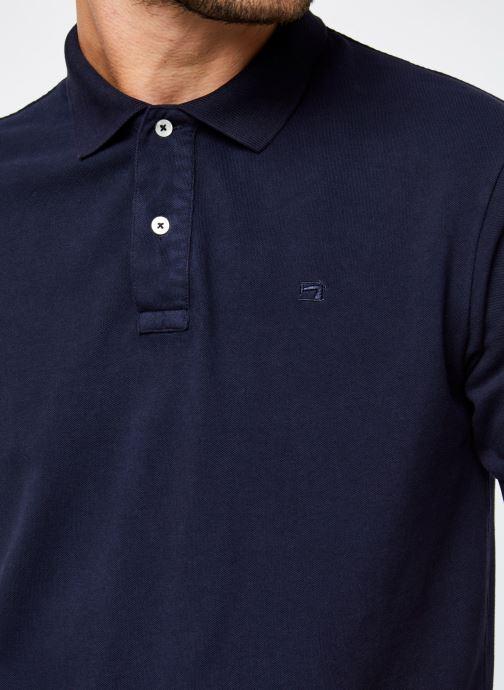 Vêtements Scotch & Soda Garment-Dyed Stretch Cotton- Pique Polo Bleu vue face