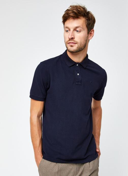 Vêtements Scotch & Soda Garment-Dyed Stretch Cotton- Pique Polo Bleu vue droite