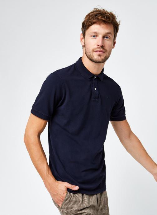 Vêtements Scotch & Soda Garment-Dyed Stretch Cotton- Pique Polo Bleu vue détail/paire