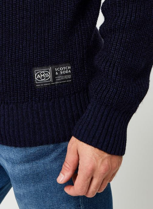 Vêtements Scotch & Soda Cotton-Wool Blend Crewneck Pull In Structured Knit Bleu vue face