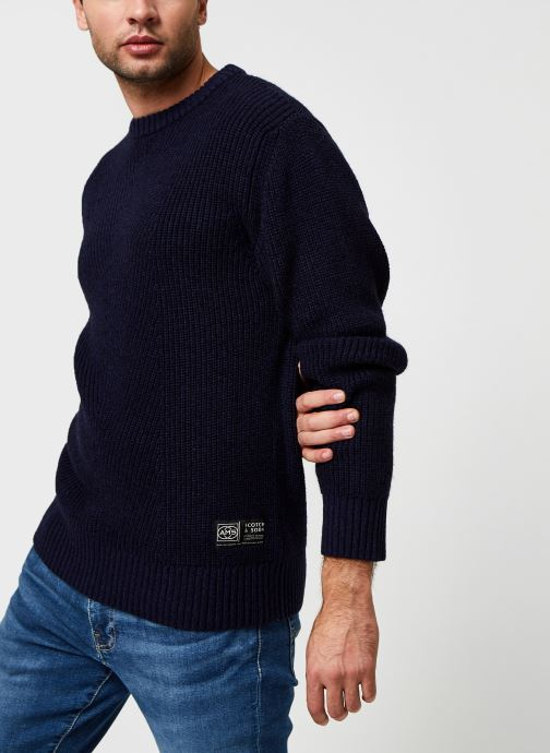 Vêtements Scotch & Soda Cotton-Wool Blend Crewneck Pull In Structured Knit Bleu vue détail/paire