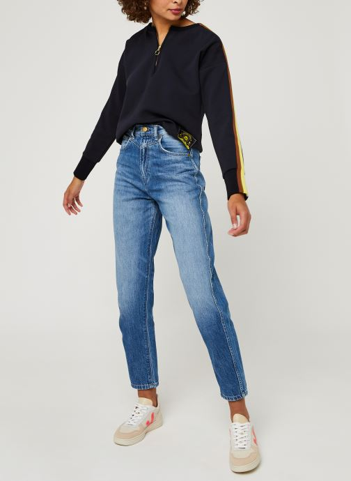 Vêtements Scotch & Soda Crew neck sweat with taped sleeves and zip at front Bleu vue bas / vue portée sac